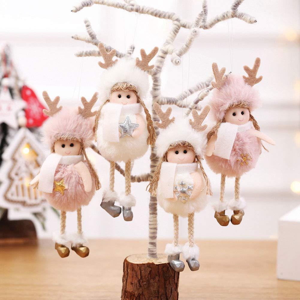 Homeofying Christmas Plush Angel Girl Star Snowflake Hanging Tree Home Party Window Decor Christmas Tree Hanging Colgantes Drops Finals Decor Xmas Party Ornament Copo de nieve blanco #