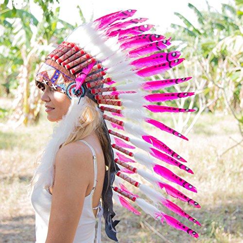 [Novum Crafts Feather Headdress   Native American Indian Inspired   Pink] (Indian Headress)