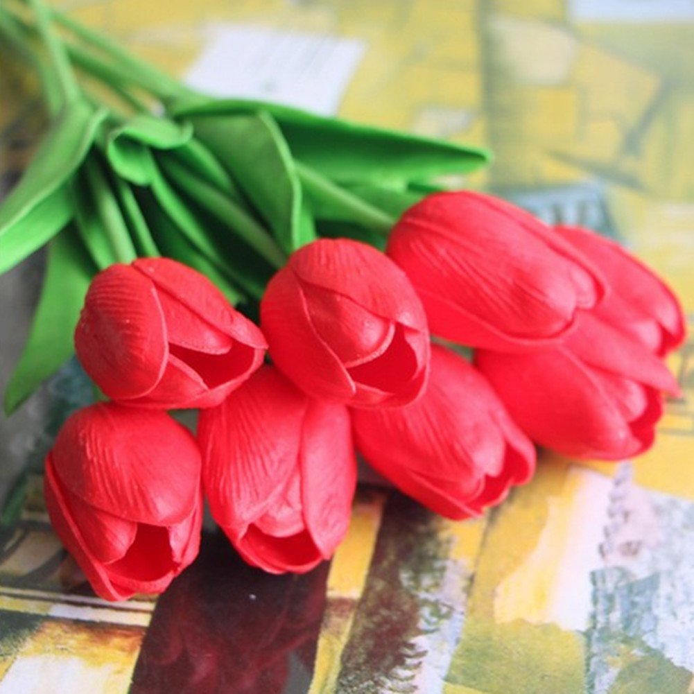 SHINE-CO LIGHTING Single Stem Real PU Touched Artificial Tulips 10 Pcs Arrangement Bouquet with Glorious Moral for Home Office Wedding Parties (Red)