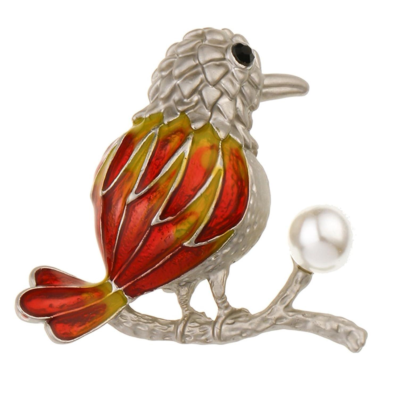 YAZILIND colorido pájaro broche rhinestone imitación perla PIN joyas mujer cumpleaños regalo