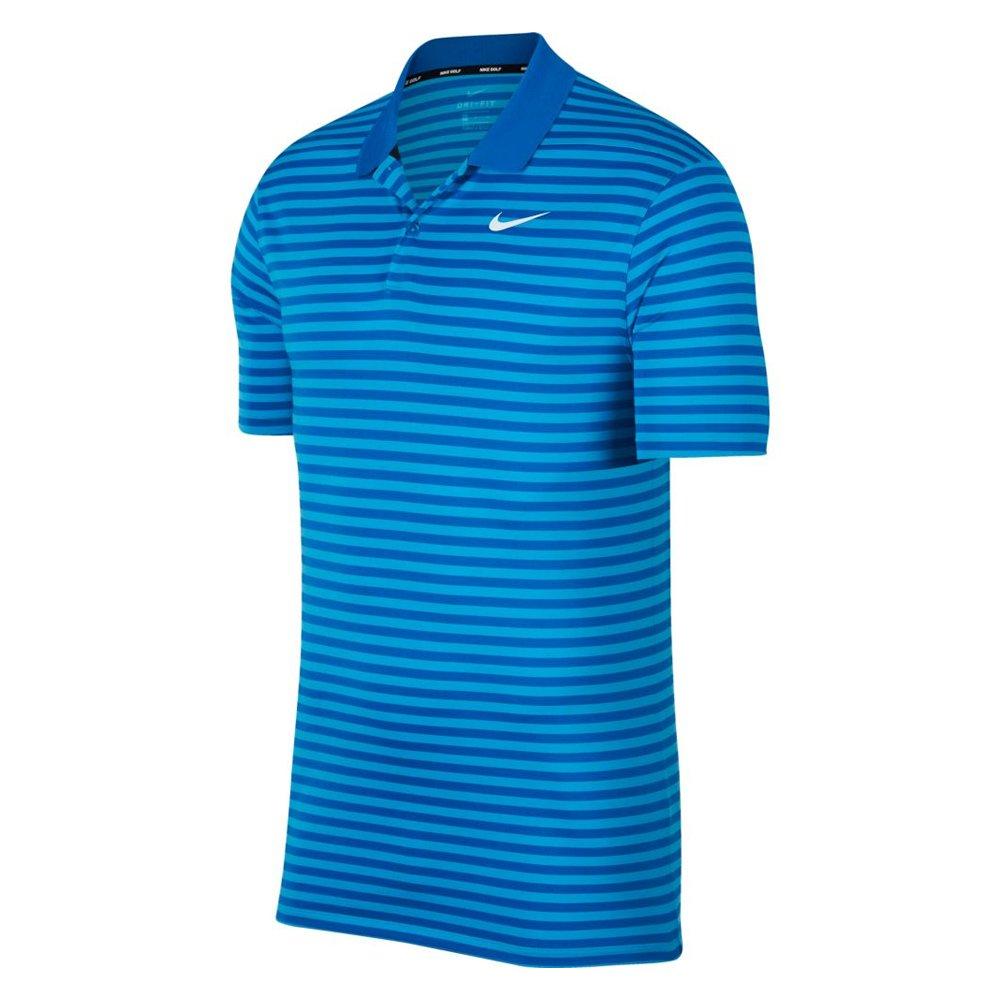 Nike Dri Fit Victory Stripe LC Golf Polo Blue Nebula/Equator Blue/Black Small
