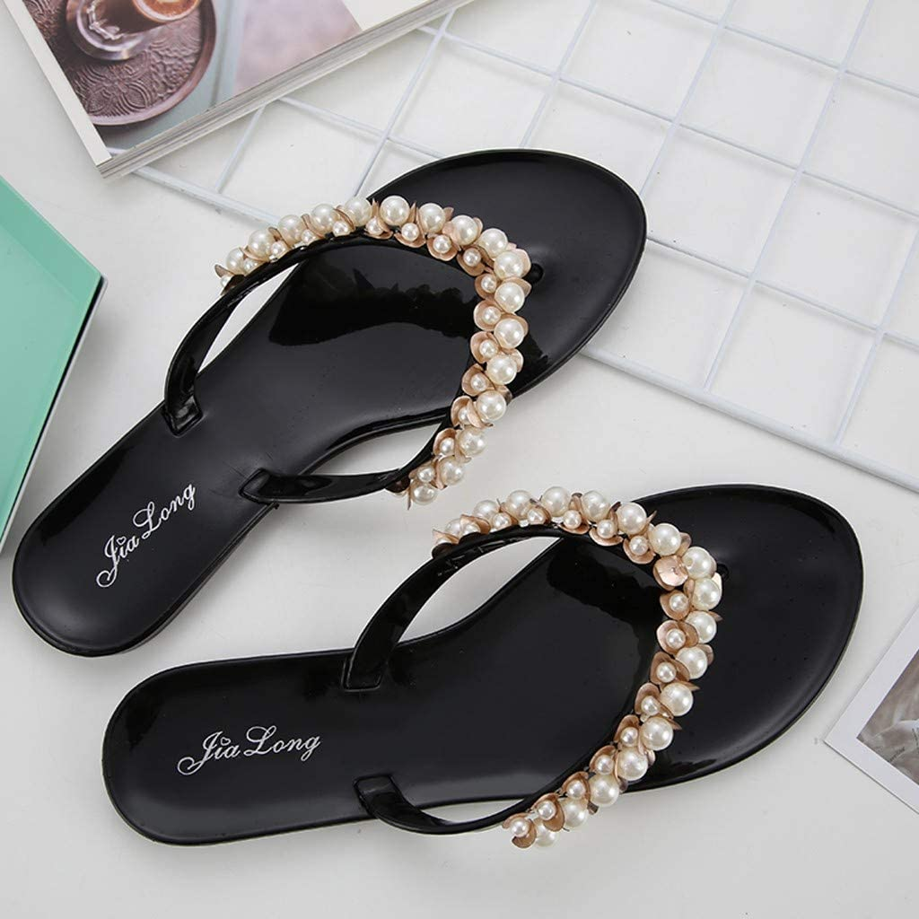 Cewtolkar Women Flip Flops Pearls Slippers Outdoor Shoes Roman Sandals Flat Flip Flops Loafers Slippers Summer Shoes