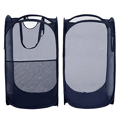 Yazer Pack of 2 Foldable Pop-Up Laundry Hamper with Side Pocket, Durable Mesh Hamper Clothes Laundry Basket Storage Bag with Reinforced Carry Handles for Dirty Clothes by Yazer