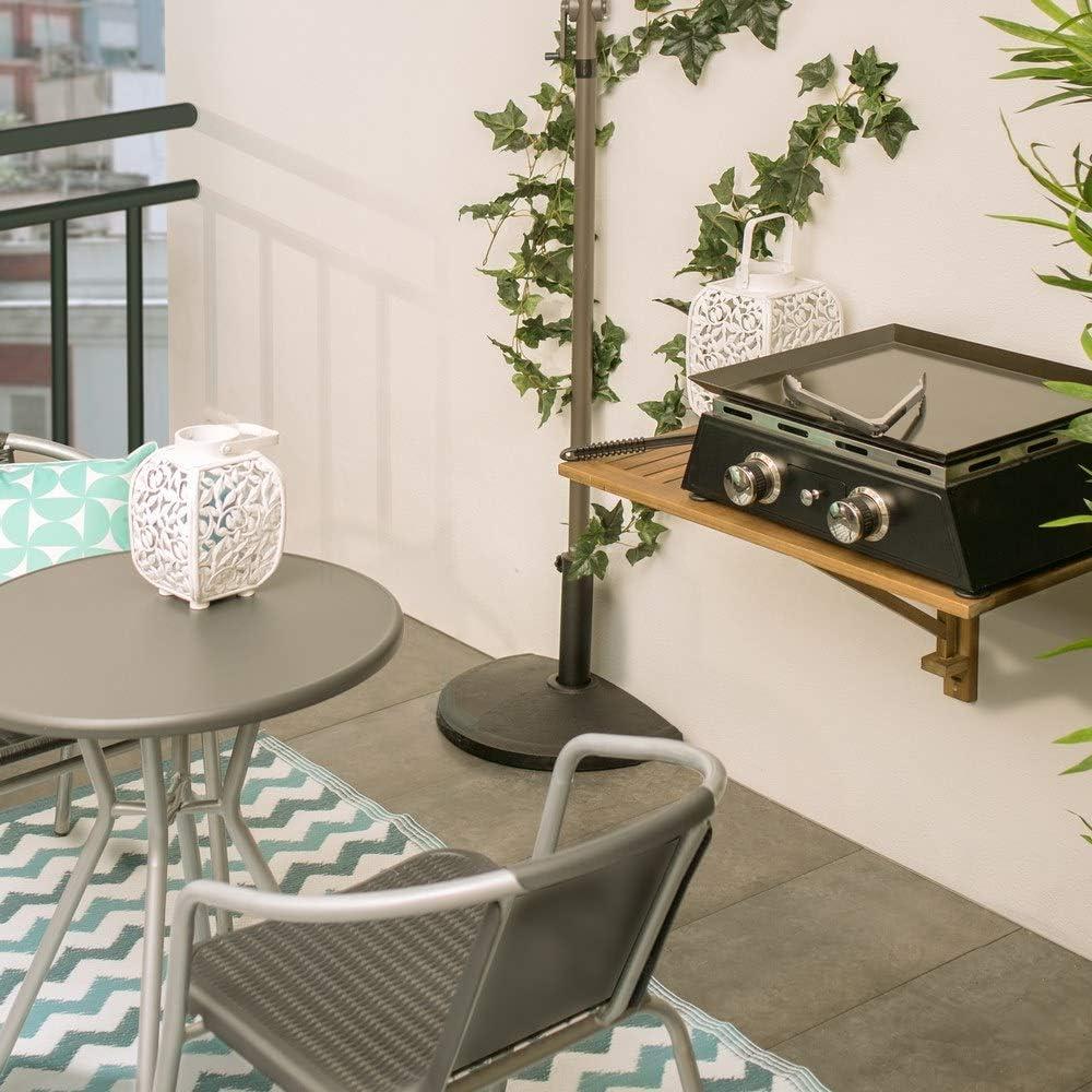 Ldk Garden pieghevole in legno marrone naturale Tavolo da terrazza
