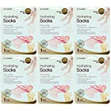 Epielle Hydrating Foot Masks (Socks 6pk) for foot cracked and dry heel to toe and callus Spa Masks - Shea butter + Jojoba Oil