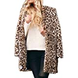 Aibiner-Cocktails Women Leopard Parka Outerwear Warm Artificial Wool Lapel Long Oversized Cardigan Coat Jacket