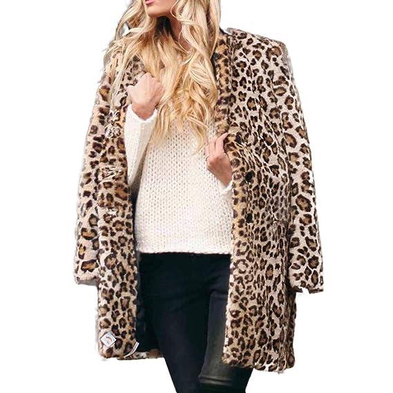 Beladla Abrigos Mujer Invierno Chaqueta De Piel Abrigo Tres Cuartos De Piel  SintéTica Y Solapas con Estampado Vintage De Leopardo para Mujers