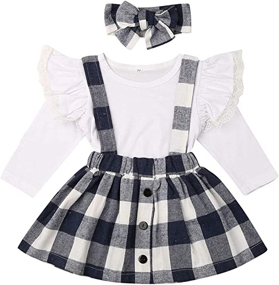 BEDHRT Baby Girl Clothes Long Sleeve Ruffle Top Overalls Strap Suspender Floral Skirt Outfit Set