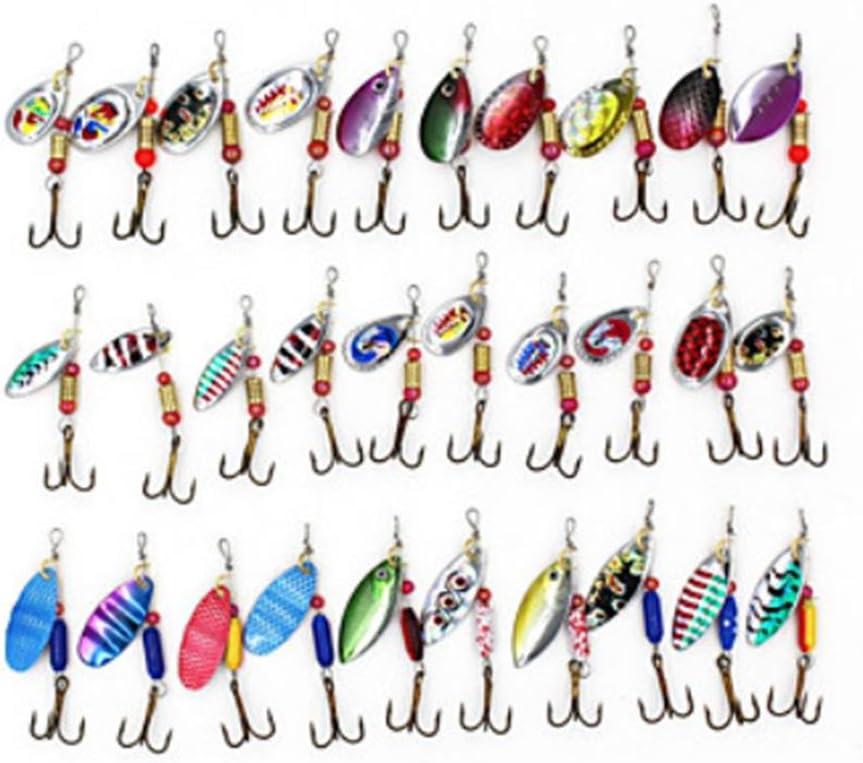 ZYT 30 piezas Cebo duro Spinner Cebos Kits de cebo Señuelos de pesca Buzzbait y Spinnerbait Señuelo Packs Cebo duro g / onza mm / 2-1 / 8
