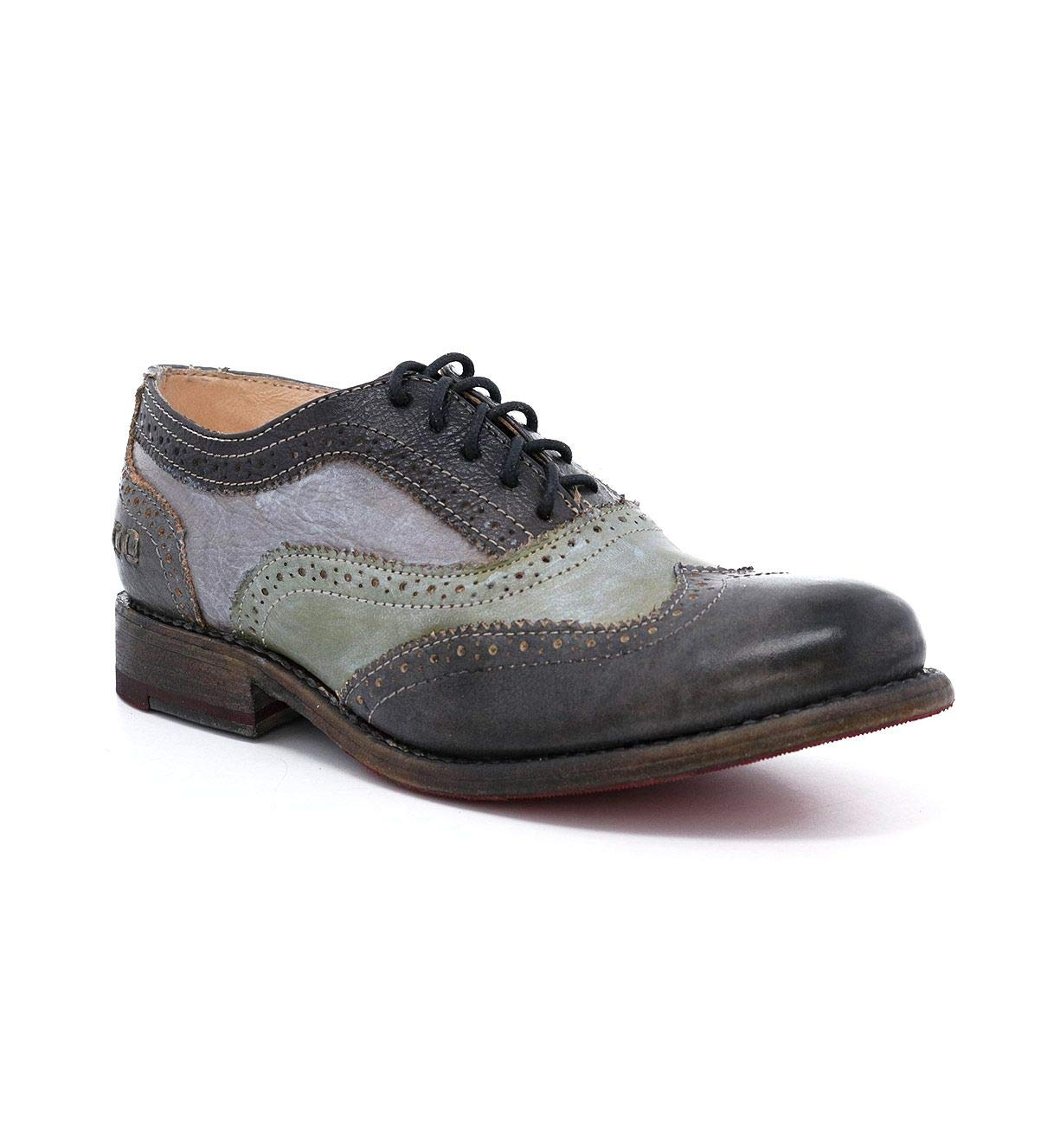 Bed|Stu Women's Lita Leather Oxford (6.5 M US, Graphito Sage Rustic Metal./Grey Silver Metal.)