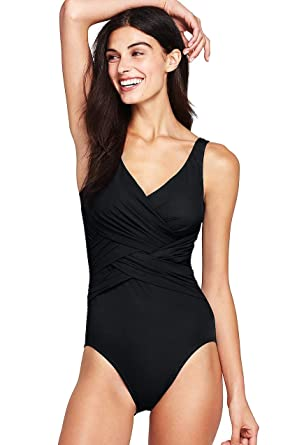 41498b2200 Lands' End Women's Slender Wrap One Piece Swimsuit with Tummy Control, 10,  Black