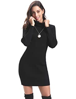 98642516557 Aibrou Robe Pull Femme Hiver à Col Roulé à Manches Longues Chaud Tricoté  Extensible sous…