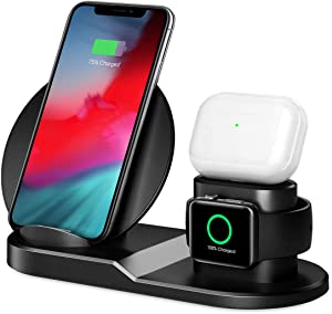 Charging Station for Multiple Devices, Wireless Charger, 3 in 1 Magnetic Charging Base for Phone, Watch & Headphones, Compatible with Apple Products