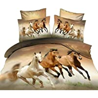 Inlefen 1 Duvet Cover and 2 Pillowcase 3pcs Wild Horses Printed Bedding