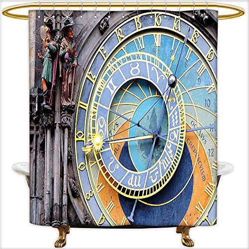 Square Sydney Clock (Qinyan-Home Shower Curtain Sets Prague Astronomical Clock in The Old Town A Medieval Landmark of The City for Blue and Yellow. Clear Non Toxic,No Chemical Odor, Rust Proof Grommets.W54 x H72 Inch)