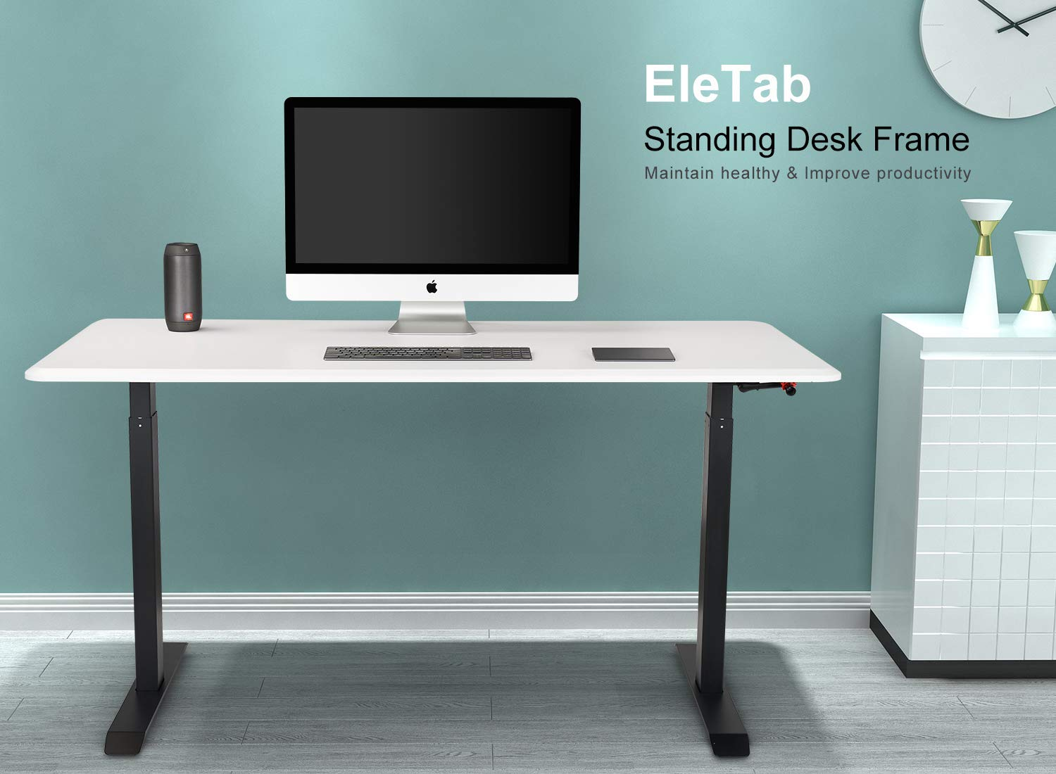 Manual Stand Up Desk Frame – EleTab Height Adjustable Sit Stand Desk with Crank System Standing Workstation