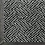Andersen 2295 WaterHog Eco Premier PET Polyester Fiber Entrance Indoor/Outdoor Floor Mat, SBR Rubber Backing, 12.2' Length x 6' Width, 3/8'' Thick, Grey Ash