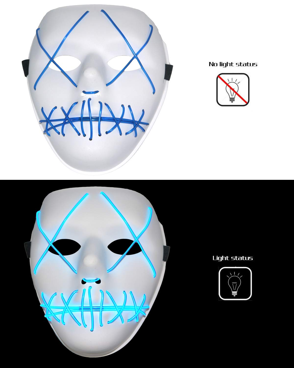 Scary Halloween Mask Cosplay LED Glow Scary EL Wire Light up Grin Masks for Festival Parties Costume (Blue)
