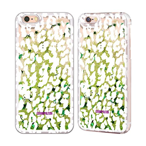 Official Cosmopolitan White Cheetah Animal Skin Patterns Green Liquid Glitter Case Cover for Apple iPhone 6 / 6s