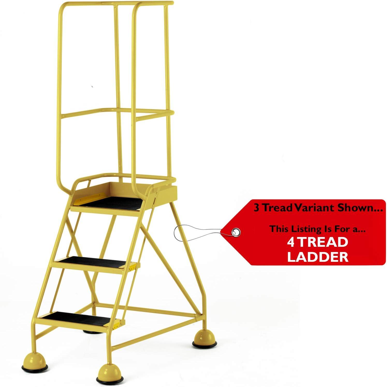 Escalera de seguridad portátil de 4 peldaños para almacenes móviles, amarilla, 2 m, ruedas y escaleras de seguridad - 1 m de altura de la plataforma, pasamanos y barandilla de seguridad -