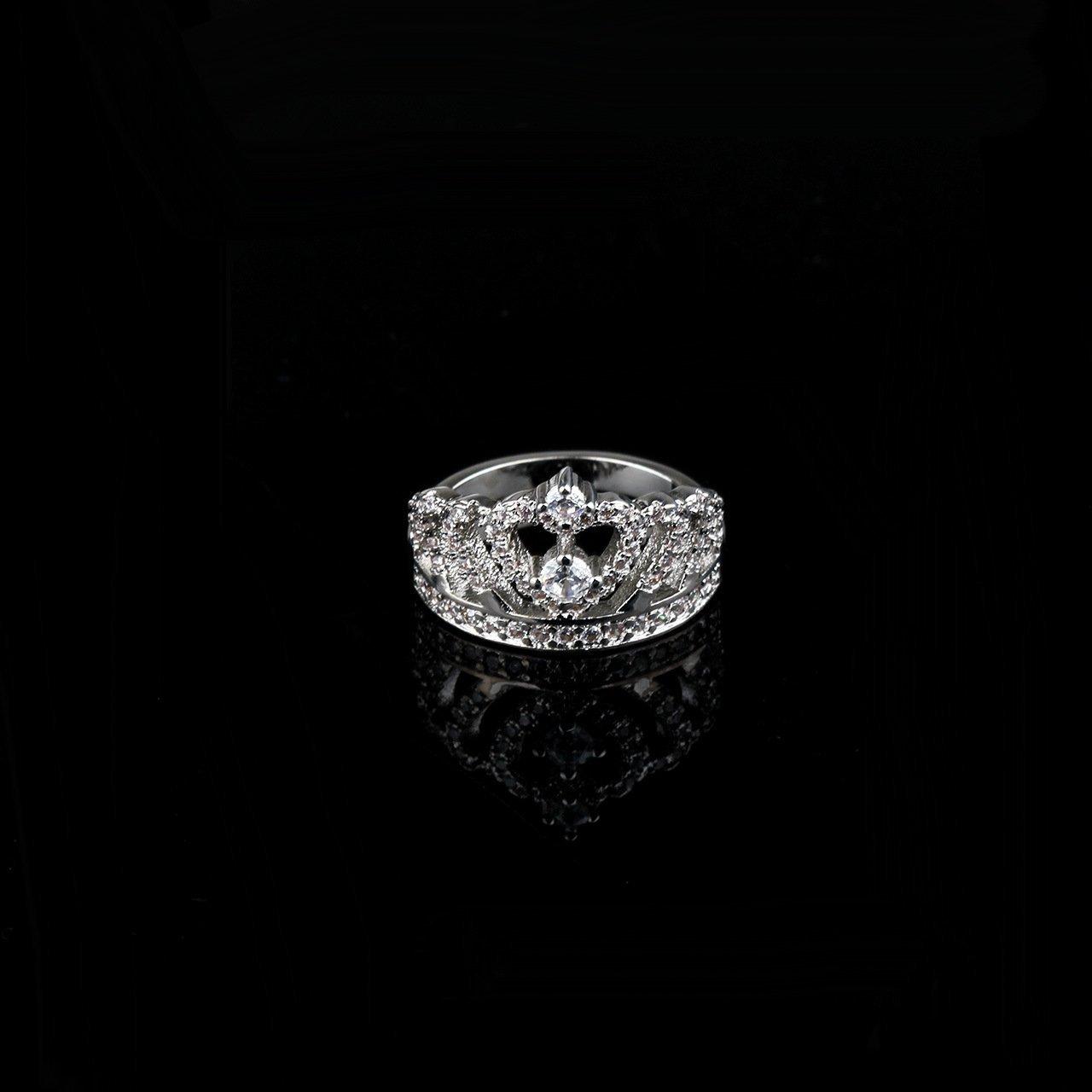 Ztuo Fashion Jewelry Cubic Zirconia Crown Ring Wedding Band for Women Girls