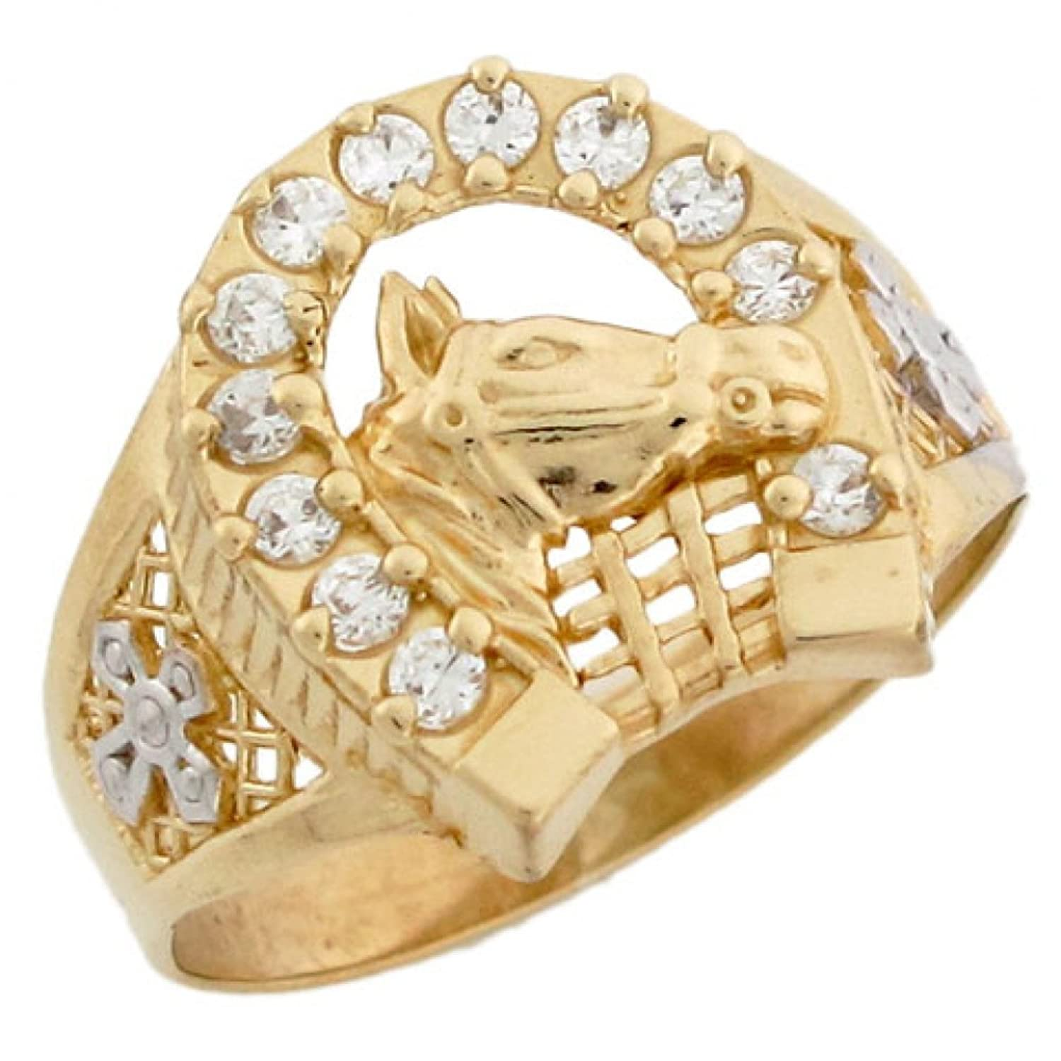 14k Two Tone Solid Gold Horse Lucky Horseshoe CZ Mens Ring|Amazon.com