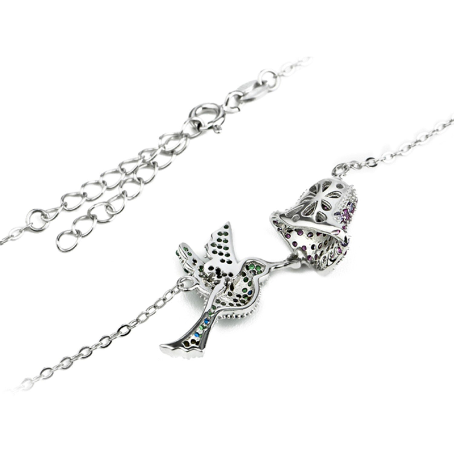 CS-DB Purple /& Green Crystal Top Stylish Silver Necklaces Pendants Lovely Bird