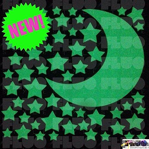StickersLab - Stelle e luna fluorescenti fosforescenti adesive che si illuminano al buio materiale 3M