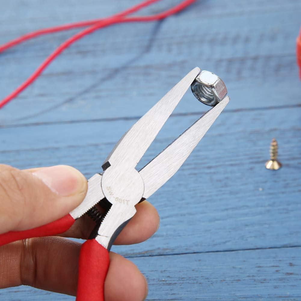 starnearby Langzange roter PVC-Griff 6 Zoll zahnlose Flachzange Flachzange Edelstahl-Kurzkettenzange manuelle Schmuckzange SW-602T DIY-Handzange