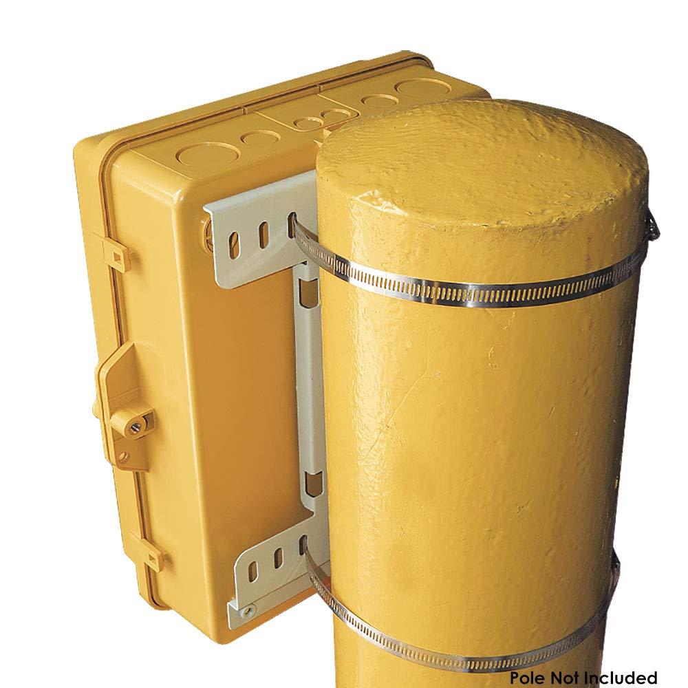 Altelix Yellow Pole Mount NEMA Enclosure (12'' x 8'' x 4'' Inside Space) Polycarbonate + ABS Weatherproof Outdoor High Visibility NEMA Box by Altelix (Image #3)