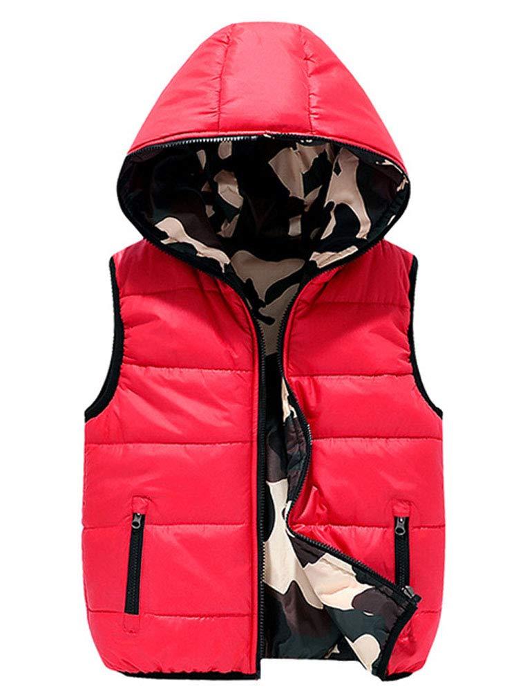 Lav Lov Boy's Puffer Vest Lightweight Hooded Jacket Waistcoat Double Side Wear 5-6T Red by Lav Lov