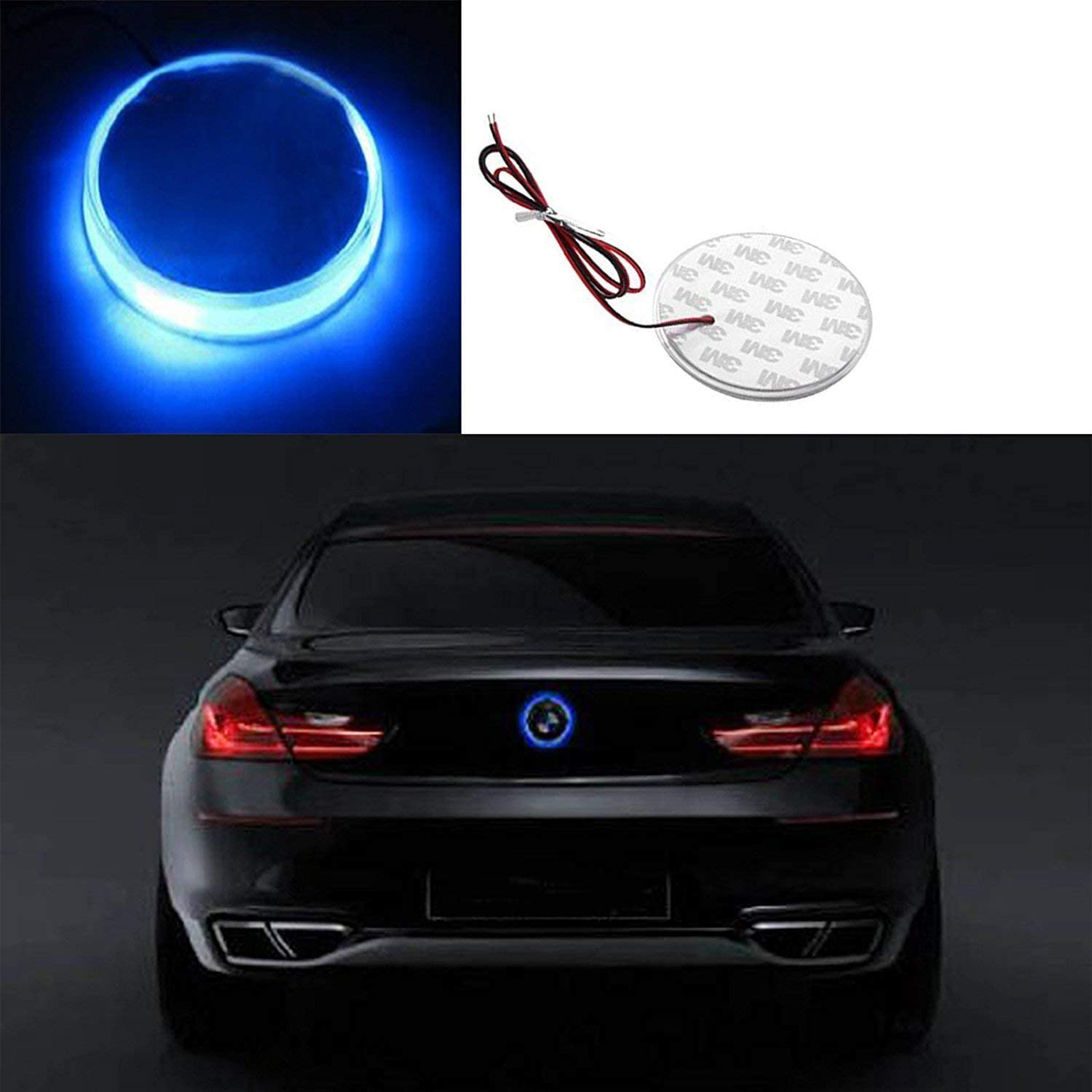 Round LED Illuminated Emblem Background Light Lighting Kit For BMW 3 4 5 6 7 X M Z Series X3 X5 X6 Xotic Tech 1x Ultra White Color 82mm Truck Hood Emblem