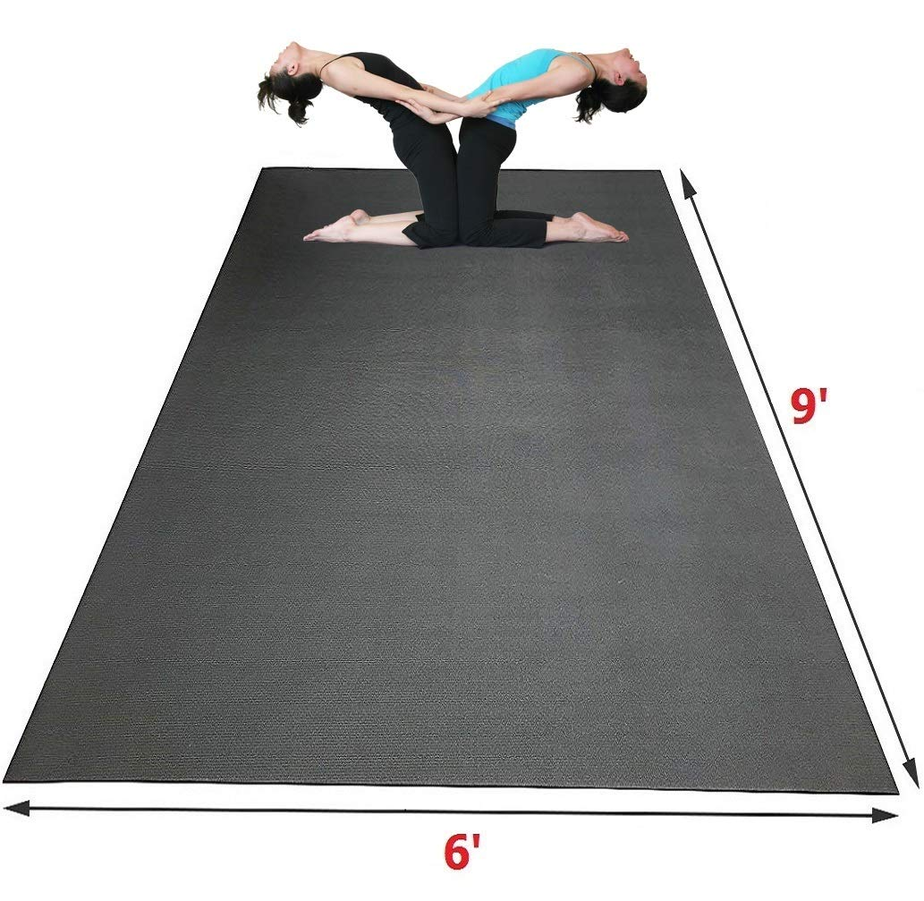 SISYAMA Extra Large Workout Mat 9 x 6 x 5mm Group Partner Aerial Yoga Mat Dance Barefoot Training Living Room Home Gym Flooring Non-Toxic Non-Slip