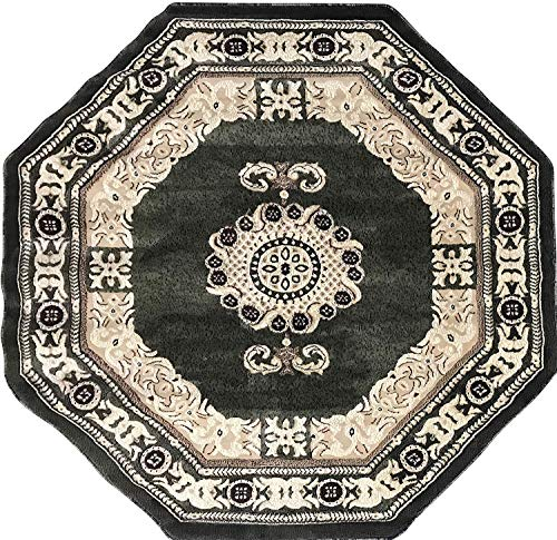 - Americana Traditional Octagon Persian Oriental Area Rug Green Beige Ivory Design 121 (5 Feet 3 Inch X 5 Feet 3 Inch)