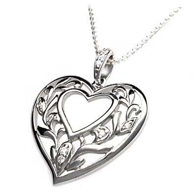 56f4a34bb Silver Heart Pendant, Olive Leaf Pattern with CZ Diamonds in 925 Silver: Paul  Wright: Amazon.co.uk: Jewellery