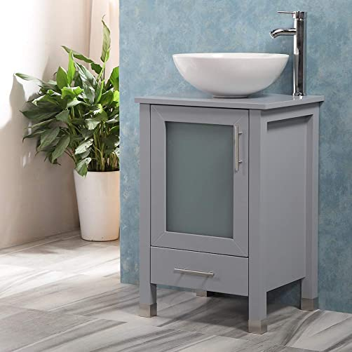 QIERAO 20 Bathroom Vanity with Sink Combo Stand Cabinet and White Ceramic Vessel Sink and Stainless Steel Faucet, Grey