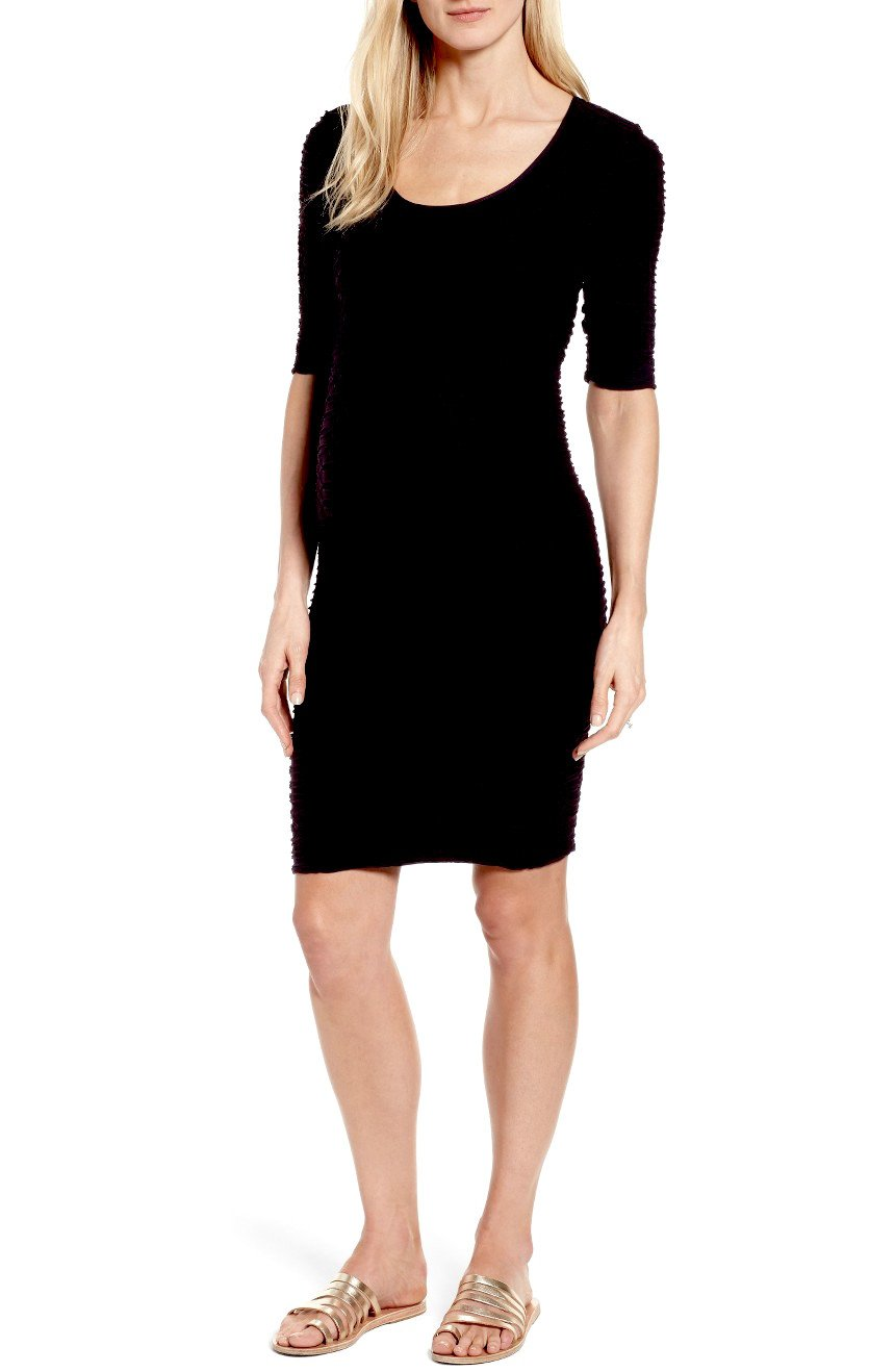 Tees by Tina Monaco Crinkle Maternity and After Sheath Seamless Casual or for Special Occasion (One Size, Black)