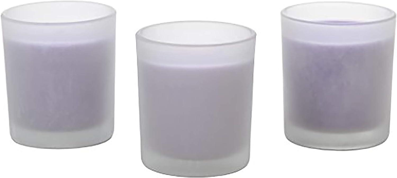 Hosley's Set of 3, 4 oz Highly Fragranced Lavender Filled Glass Votive Candles.
