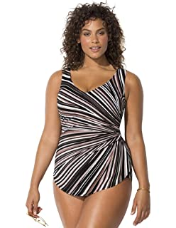 dce9b69b22 Swimsuits for All Women's Plus Size Striped Sarong Front One Piece Swimsuit