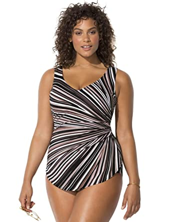 09eb6fc005fee Swimsuits for All Women s Plus Size Striped Sarong Front One Piece Swimsuit  at Amazon Women s Clothing store