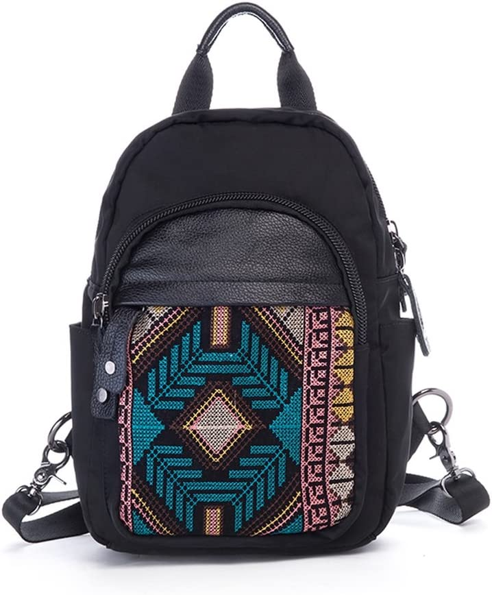 C/&Q CQ Oxford Embroidery National Style Shoulder Bag Womens Travel Backpack Pure Leather Large Capacity Hack Pack