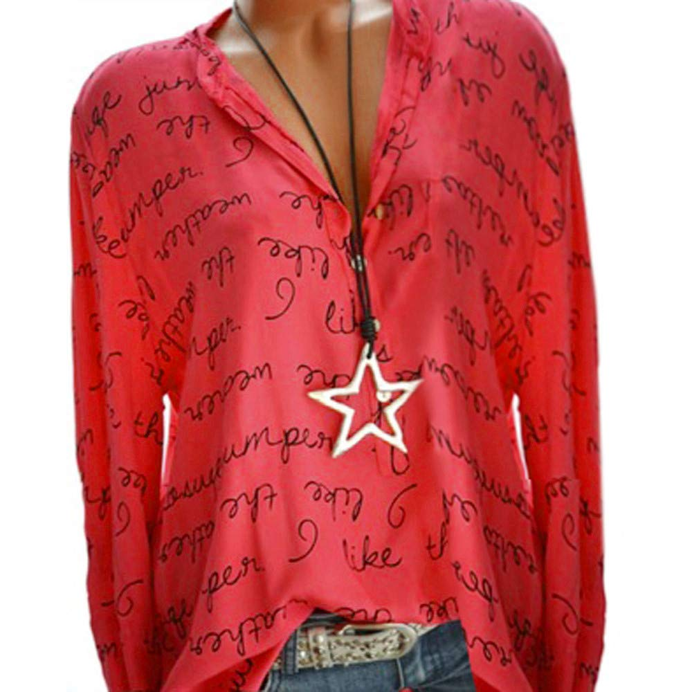 Women Plus Size Tops Loose Letter Autumn Long Sleeve V Neck Button Down Henley Shirts