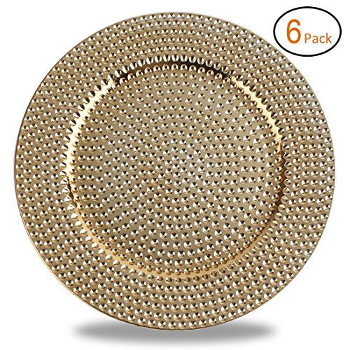 Fantastic:)TM Round 13 Inch Plastic Charger Plates with Eletroplating Finish (6, Hammer Gold) ()