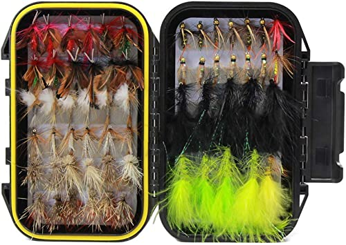 60 Piezas de Pesca con Mosca Señuelo Moscas Secas Moscas Mojadas Kit Surtido con Caja de Moscas Impermeable para la Pesca de Truchas: Amazon.es: Deportes y aire libre