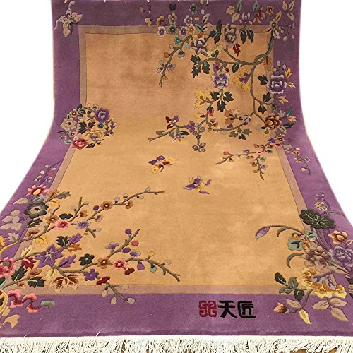 Yilong 1.6x2.4m Hand Knotted Chinese Art Deco Wool Area Rugs Oriental Antique Carpet