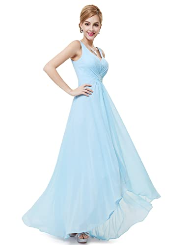 Ever Pretty™ Double V-Neck Rhinestones Ruched Bust Hi-Lo Evening Dress 09983