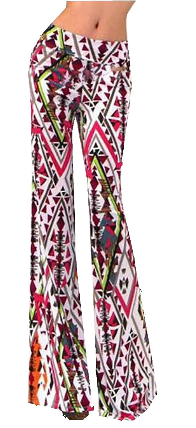 Unko Womens Floral Printed High Rise Loose-Fit Flared Pants