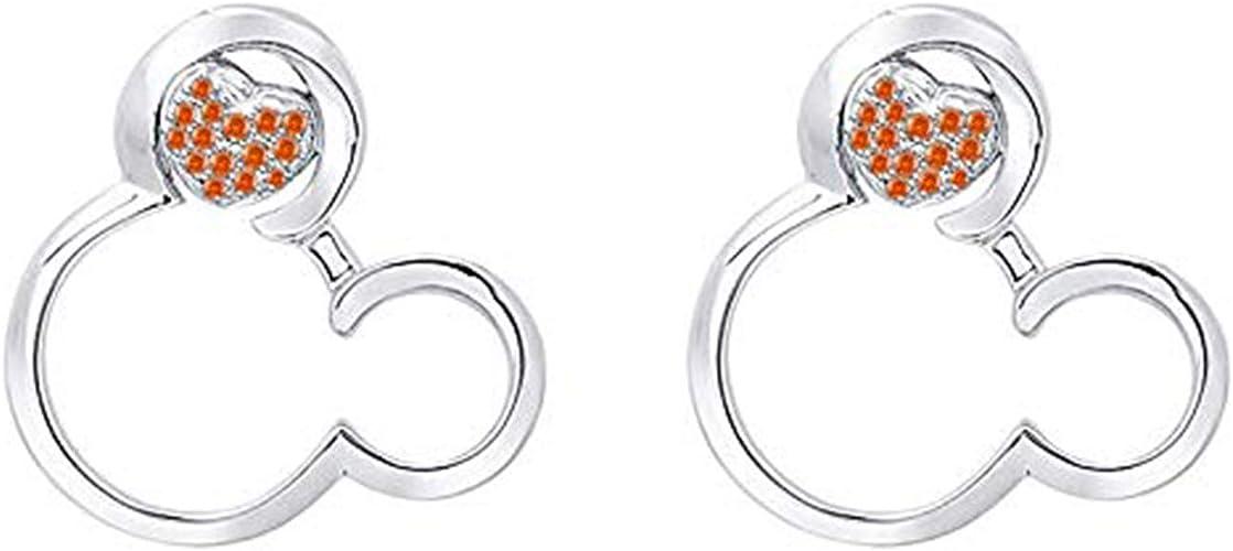Disney Mickey Earrings 14K White Gold Plated Round CZ Screwback Earrings Jewellery