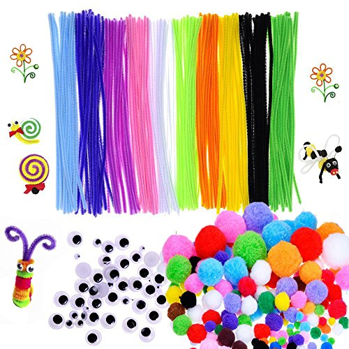 450 Pcs Craft Supply Set, Which Includes 100Pcs Pipe Cleaners Chenille Stem, 150Pcs Self-sticking Wiggle Googly Eyes and 200Pcs Pompoms for DIY School Art Projects by (Craft Jar)
