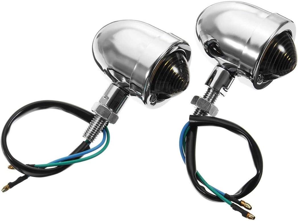 Moto Bullet Clignotants feux de signalisation Noir//Chrome for Harley coureur de caf/é Type : 1